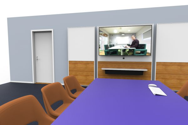 An installation-free AV wall with all features. Connect wirelessly and present, write on the writing board and have distance meetings.