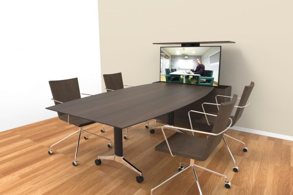 A small side table that fits your usual meeting table. Includes height adjustable screen as well as wireless connection and remote meeting function.