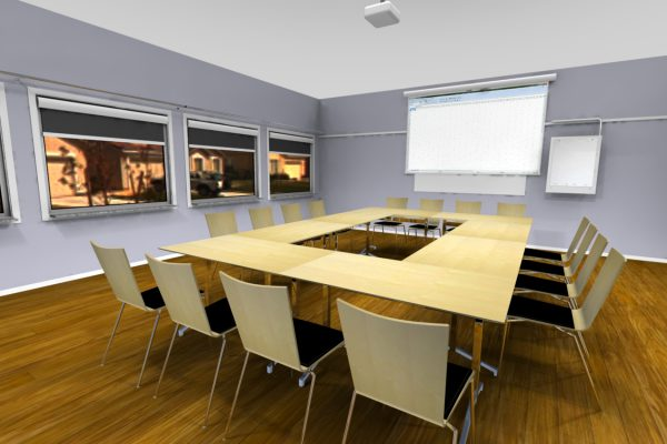 The traditional training room with a projector in the ceiling, projection screen and writing board.