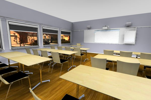 A training room with interactive projector