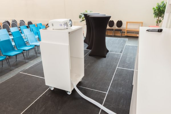 Smart trolley for the projector where the projector can be raised to the right height.