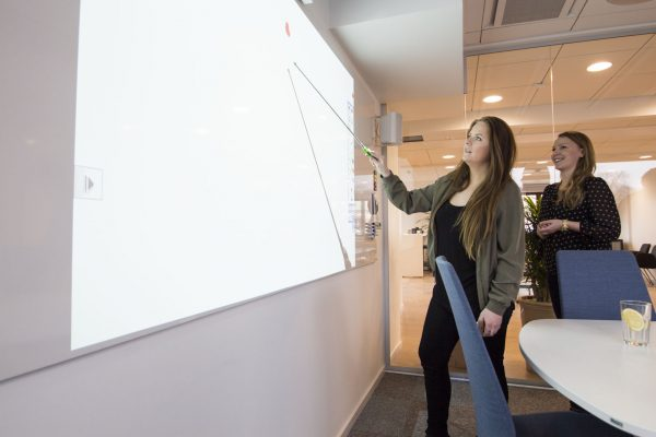 The interactive projector can be used with pens or fingers