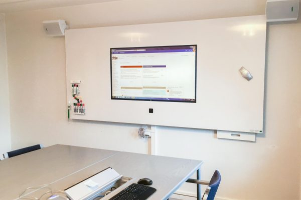 DesignLine Writing Board with recessed TV and camera